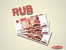 Russian Ruble money paper minimal vector graphic design Royalty Free Stock Photos