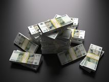 Russian ruble pack  on black background Royalty Free Stock Photos