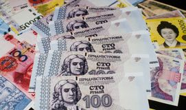 Russian ruble on a pile of different currencies Stock Image