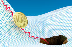 Russian ruble in problem Royalty Free Stock Image