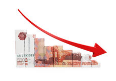 Russian Ruble and Red Arrow Royalty Free Stock Images