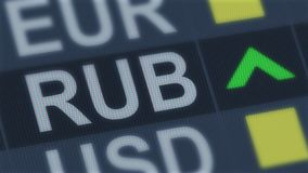 Russian ruble rise, world exchange market, currency rate fluctuating, screen. Stock photo royalty free stock photos
