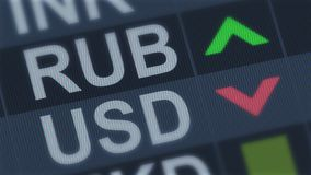 Russian ruble rising, American dollar falling, exchange rate fluctuation, screen. Stock photo stock images