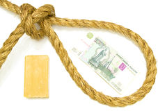 Russian ruble in the rope loop Stock Photography