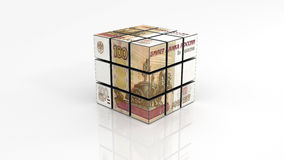 Russian ruble on rubiks cube finished Stock Image