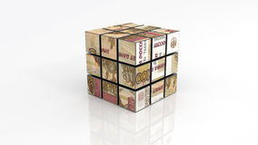 Russian ruble on rubiks cube unfinished Royalty Free Stock Photo