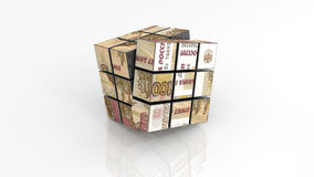 Russian ruble on rubiks cube unfinished Stock Photos