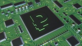 Russian ruble symbol on operating chipset. 3D rendering Royalty Free Stock Photography