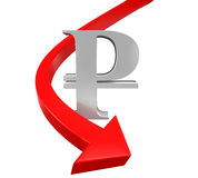 Russian Ruble Symbol and Red Arrow Royalty Free Stock Image