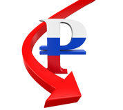 Russian Ruble Symbol and Red Arrow Royalty Free Stock Images