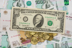 On the Russian ruble is the US ten-banknote Royalty Free Stock Photos