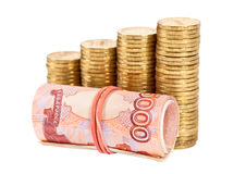Russian rubles banknotes and coins Stock Images