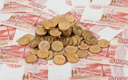 Russian rubles banknotes and coins. Stock Images