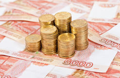 Russian rubles banknotes and coins. Royalty Free Stock Photo
