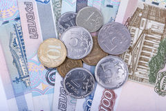 Russian rubles banknotes and coins, closeup view Stock Photo