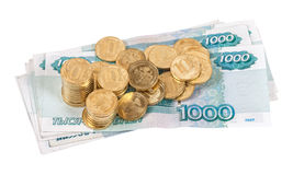 Russian rubles banknotes and coins Royalty Free Stock Image