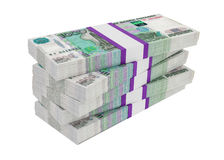 Russian rubles bills packs on stack Royalty Free Stock Photography