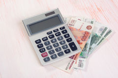 Russian rubles with calculator Royalty Free Stock Photography