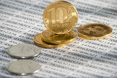 10 Russian rubles, coins lie on documents accounting. Economic crisis. royalty free stock photos