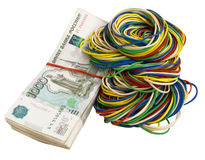 Russian rubles with elastic bands Royalty Free Stock Image