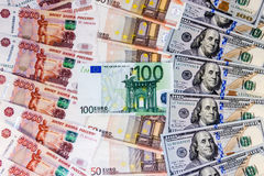 Russian rubles, euros and dollars Royalty Free Stock Photo