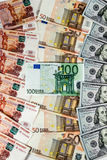 Russian rubles, euros and dollars Stock Image