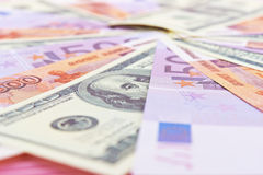 Russian rubles, euros and dollars Royalty Free Stock Photography