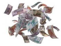 Russian rubles flying Stock Images