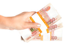 Russian rubles in hand isolated on white Stock Images