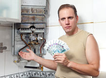 Russian rubles in hands of the man Stock Photography