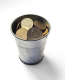 Russian rubles iron bucket. dollar exchange rate. Russian Econom Stock Image