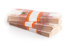Russian rubles isolated on white Stock Image