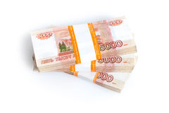 Russian rubles isolated Royalty Free Stock Photos