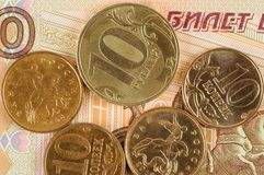 Russian rubles and kopecks Royalty Free Stock Photo
