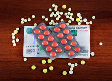 Russian Rubles and the Pills Royalty Free Stock Photos