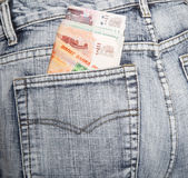 The Russian rubles put in half stick out of a hip-pocket of jean Stock Photos