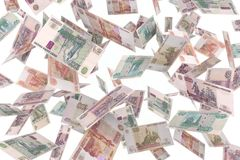 Russian rubles rain Royalty Free Stock Image