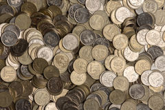 Russian rubles stack of metal coins background Royalty Free Stock Images