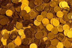 Russian rubles stack of metal gold coins background Stock Photos
