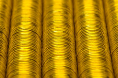 Russian rubles stack of metal gold coins background Stock Photography