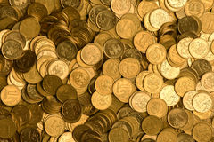 Russian rubles stack of metal gold coins background Royalty Free Stock Images