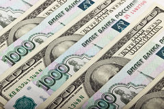 Russian rubles and US dollars Royalty Free Stock Photography