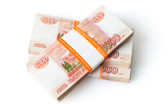 Russian rubles on white Royalty Free Stock Photography