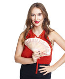 Russian rubles. Young happy woman holding a fan of money Royalty Free Stock Photography