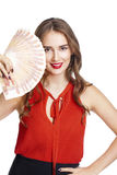 Russian rubles. Young happy woman holding a fan of money Stock Image