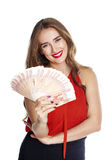 Russian rubles. Young happy woman holding a fan of money Stock Photos