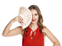 Russian rubles. Young happy woman holding a fan of money Stock Photography