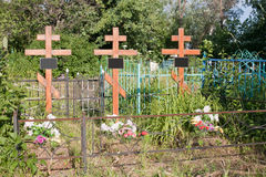 Russian rural cemetery Royalty Free Stock Photography