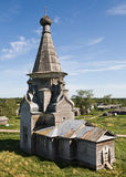 Russian rural church. Old wooden church in Russian village, summer view Stock Image