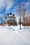 Russian Rural Church in Winter Royalty Free Stock Photo
